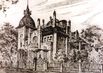 Zeichnung der Villa mit ursprünglichen Eingangstor